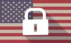 Stock Illustration of USA flag icon with a lock pad