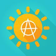 Long shadow sun icon with an anarchy sign Stock Illustration