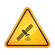 Danger signal icon with a satellite Stock Illustration