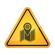 Stock Illustration of Danger signal icon with a map