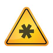 Danger signal icon with an asterisk Stock Illustration