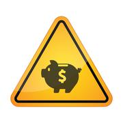 Danger signal icon with a piggy bank - stock illustration