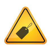 Danger signal icon with a product label - stock illustration