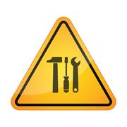 Stock Illustration of Danger signal icon with a tool set