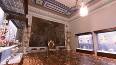 The throne of the emperor in State Hermitage Museum of St. Petersburg. Stock Footage