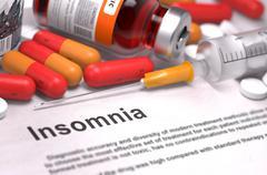 Diagnosis - Insomnia. Medical Concept - stock illustration