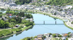 Japan northern Alps and the river Stock Footage
