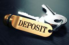 Deposit written on Golden Keyring - stock illustration