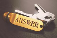 Stock Illustration of Answer - Bunch of Keys with Text on Golden Keychain
