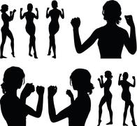 Stock Illustration of woman silhouette with hand gesture power and might