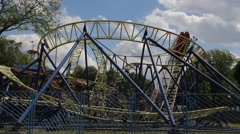 Wideangle view of rollercoaster Stock Footage