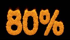 80 or eighty percent written with burning fonts - stock footage