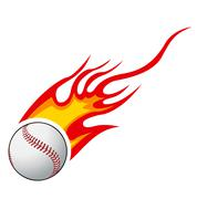 Baseball with flames vector Piirros