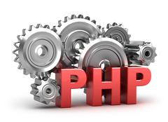 PHP Coding concept on white - stock illustration