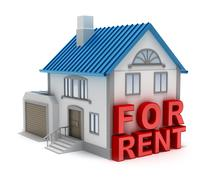 Home for rent. 3D concept isolated on white Stock Illustration