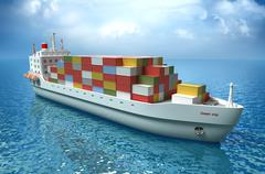 Cargo ship sails across the Ocean. My own design. High quality 3d render - stock illustration