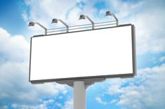 Empty advertisement hoarding at sky background Stock Illustration
