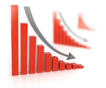 Bad sales . Arrow falling downward Stock Illustration