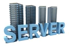 Server word in front of grey Servers Stock Illustration