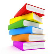 Books rainbow over white - stock illustration