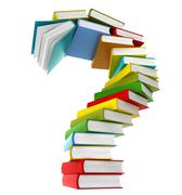 Question symbol from coloured books - stock illustration
