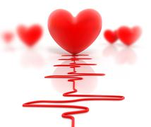 Red heart and cardiogram isolated on white - stock illustration