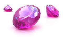 Stock Illustration of Ruby gemstones on white surface. 3D render.
