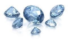 Diamonds set , isolated on white - stock illustration