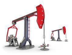 Oil Rig : Pump jacks isolated on white - stock illustration
