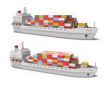 Cargo ship on white background , 3D image. My own design. Piirros