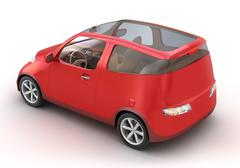 Compact Red Car 3D concept. My Own Design Stock Illustration