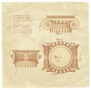 Blueprint - hand draw sketch ionic architectural order - stock illustration