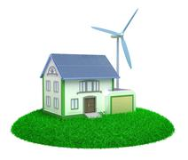 Eco house - 3D image. Stock Illustration