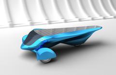 Future Solar Concept Car. 3D render. my own design, no trademarks. Stock Illustration