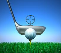 Golf ball and tee with target device. Hi quality 3D render. - stock illustration