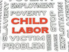 3d image Child Labor  issues concept word cloud background Stock Illustration