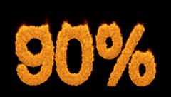 90 or ninety percent written with burning fonts Stock Footage