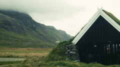 Grass Hut on the Island of ICELAND - CIRCA AUGUST, 2014 Stock Footage
