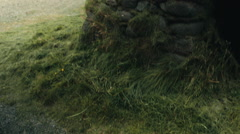 Grass Hut on the Island ICELAND - CIRCA AUGUST, 2014 Stock Footage