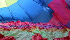 inside a colored nylon balloon - stock photo