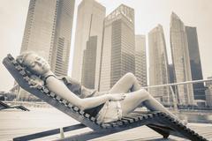 woman adventure to Singapore - stock photo