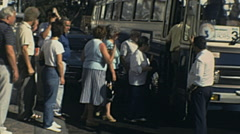 Caracas 1983: people taking a tourist coach Stock Footage