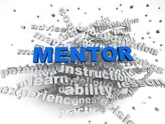 3d image Mentor  issues concept word cloud background Stock Illustration