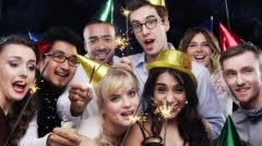 Mixed race group of friends celebrating independence day slow motion party photo Stock Footage