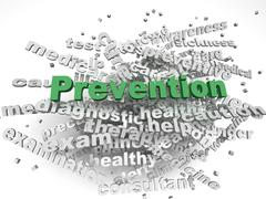 3d image Prevention  issues concept word cloud background - stock illustration