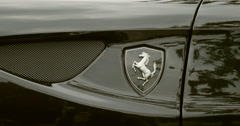 Ferrari Logo on luxury car Stock Footage