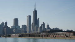 John Hancock Center and the Chicago skyline from the navy pier Stock Footage
