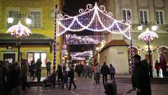 Warsaw Christmas Illumination in Old Town Stock Footage