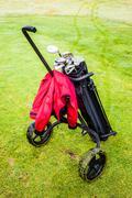 Wheeled golf bag - stock photo