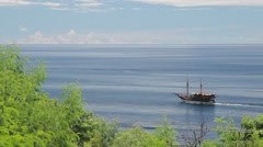 Old historical sailboat on the ocean. Stock Footage